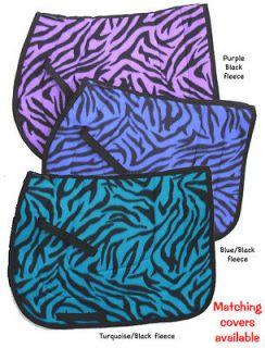 pretty PURPLE TIGER ZEBRA animal print nice ENGLISH SADDLE PAD