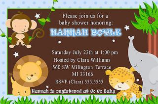 Cute Jungle Safari Birthday Baby Boy Shower Invitations Cards