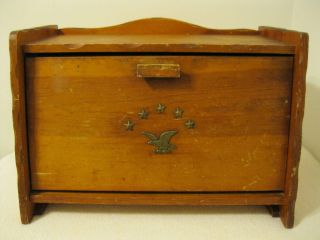 Vintage Wooden Bread Box w/ Brass Plated Eagle and Stars Design