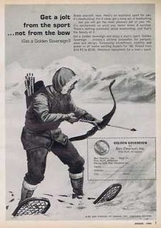 1966 GOLDEN SOVEREIGN BOWHUNTING ARCHERY BOW BEN PEARSON VINTAGE PRINT