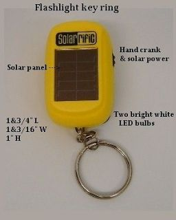 Five LED HAND CRANK & SOLAR POWER FLASHLIGHT KEY CHAINS ,KEY RINGS