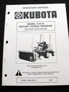 F2400 FRONT MOWER F3219 ROTARY POWER SWEEPER BROOM OPERATORS MANUAL