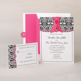 damask fuchsia diy wedding invitation kit hot pink print your own