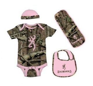 BROWNING BUCKMARK PINK MOSSY OAK INFINITY BABY INFANT SET   4 PIECES