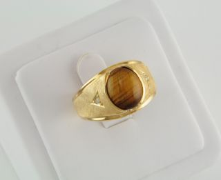 Esposito Mens Brown Tiger Eye Crosshatch Ring 14kt Yellow Gold Ep
