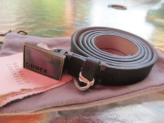 Brunello Cucinelli Gunex belt dark taupe leather MOP stone buckle size