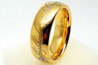 Elvish Rings 18k Gold Plated Tungsten Carbide ONE Ring Mens Jewelry