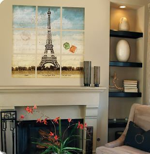 EIFFEL TOWER wall stickers MURAL 9 tile decals 32x32 vinyl room