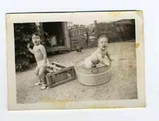 Babies & Metal Wash Tub Photo & Chickens in the Yard Milk Can Pottery
