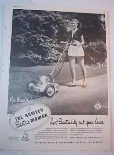 Vintage 1947 B&W Magazine Print Ad   Rumsey Electric Push Mower