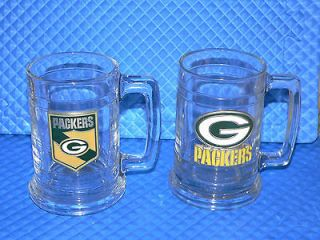 Vintage Green Bay Packers Pewter Logo 14 Oz Mugs Set of 2 Excellent