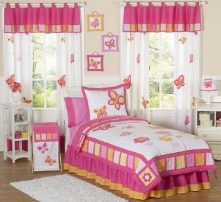 DESIGNS PINK ORANGE FLOWER BUTTERFLY GARDEN KID TWIN GIRL BEDDING SET