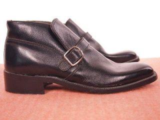 1980s Vintage JC PENNY Black Leather Monk strap Ankle Slip on Boots US