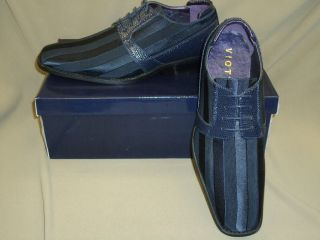New Mens Navy Blue Satin Fabric Formal Dress Shoes