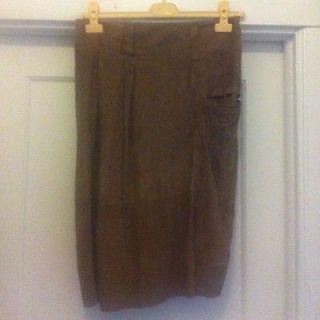 Gunex/Brunello Cucinelli Suede Pencil Skirt Size US 6 Italian 42