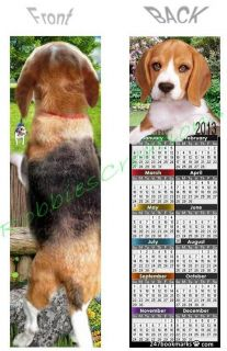 2013 CALENDAR BOOKMARK Foxhound Hound PUPPY Dog Figurine CARD ART