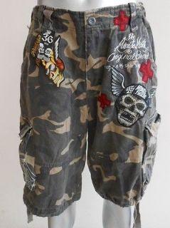 Minute Mirth Tattoo Devil Camo Camouflage Shorts size 36 MMS03