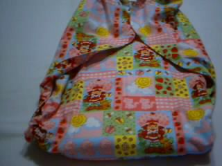 ADULT SISSY BABY DL FLANNEL CLOTH DIAPER XL 44 WAIST STRAWBERRY