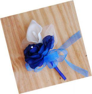 Blue Calla Lily Silk Flower Corsage Wedding Bridal Prom Quinceanera