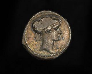 Republic Silver Denarius Carisius Julius Caesar Quadruple Triumph Coin