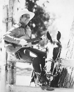 GENE AUTRY B&W POSTER PRINT PLAYING GUITAR BY HORSE
