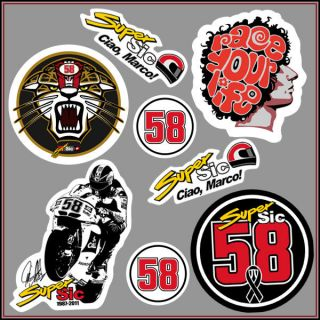 8x Stickers Pack Super Sic Marco Simoncelli Decal Aufkleber MotoGP