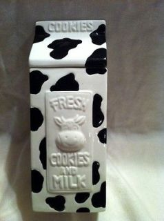COW BLACK AND WHITE MILK CARTON COOKIE JAR BY HOUSTON HARVEST PRODUCTS