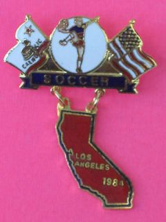 1984 Soccer / Football Olympic Games Pin Badge Los Angeles California
