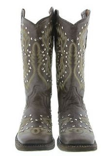 WOMENS COWBOY BOOTS LADIES STUDDED COWGIRL SOFT LEATHER RODEO BIKER