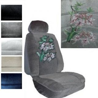 SEAT COVERS CAR TRUCK SUV HUMMINGBIRD with PURPLE FLOWER LOW BACK pp