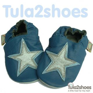 tula2shoes SOFT LEATHER BABY BOYS BLUE SILVER STAR SHOES 0 6 6 12 12