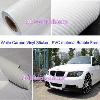 60x203D Textured White Carbon Fibre Vinyl Film Wrap AUDI BMW FORD