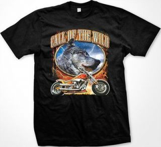Call Of The Wild   Wolf Motorcycle Biker Outdoors Wildlife  Mens T