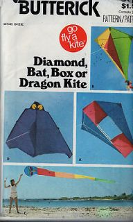 Sewing Pattern Butterick 6111 Diamond Bat Box Dragon Kite Uncut
