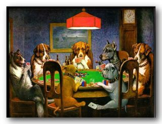 dogs playing poker poster wall art various sizes available (075)