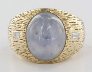 Yellow Gold Natural Blue Star Sapphire Diamond Mens Ring Fine Jewelry