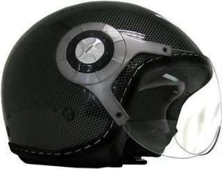 602 Jet Pilot Carbon Fiber Open Face Motorcycle Helmet Scooter Moped
