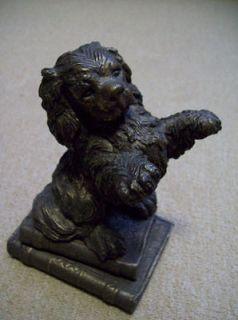 Cavalier King Charles Spaniel Dog Bronze Metal puppy Statue pair of 2