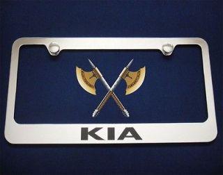 KIA MIRROR CHROME METAL LICENSE PLATE FRAME/FREE 2 CAPS