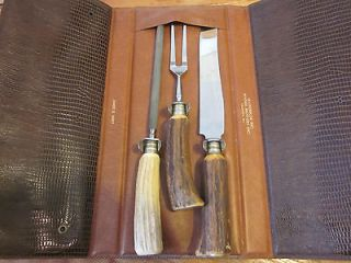 Solingen Germany 3 piece carving set Stag handles Original Case Sharp