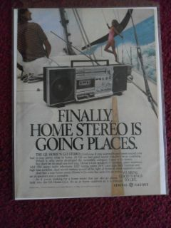 1981 Print Ad G.E. General Electric ~ Stereo Boombox Music Player