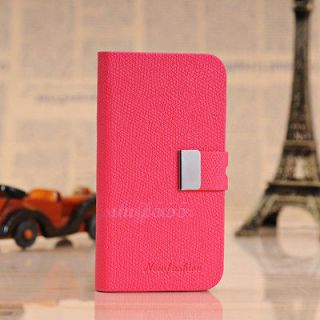 Fashion Leather Flip Case Stand Cover For Apple iphone 4 4s Roseo A