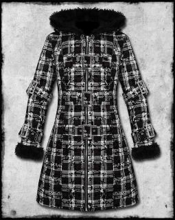 HELL BUNNY CELINA BLACK & WHITE TARTAN CHECK FUR TRIM HOODED WINTER