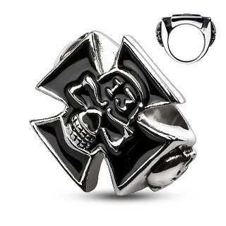 Stainless Steel Lucky 13 Skull Celtic Cross Cast Ring, sizes 9   14