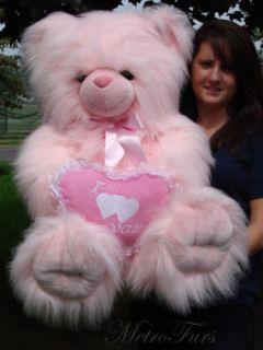 BIG GIANT HUGE FLUFFY FURRY PINK PLUSH STUFFED TEDDY HEART BEAR