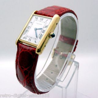 CARTIER 18ct Yellow Gold Tank Paris   Manual wind   Red Crocodile