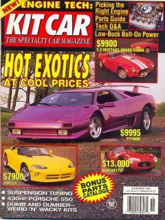 Kit Car USA mag 11/95 Python Barcheta Vortex ERA Caterham Mustang