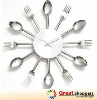 Design Home Kitchen Decoration Art Fork & Spoon Silver Wall Clock