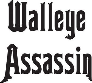 WALLEYE ASSASSIN VINYL FISHING STICKER DECAL, 7 X7