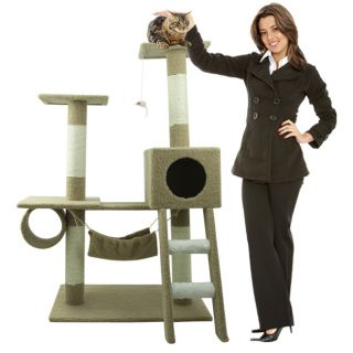 New Cat Tree 47 Kitten Condo Furniture Scratching Post Pet Play House
